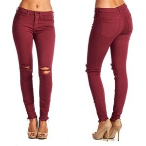 Sneak Peek Burgundy Fall Distressed Skinny Jeans